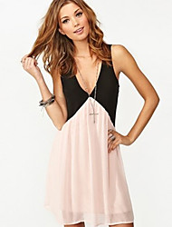Rxhx Chiffon Deep V Neck Sleeveless Backless Short Dress(Pink)