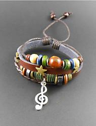 Wrap Bracelet multicolore de cuir de Fashion Star note musicale perles 17cm hommes (1 PC)
