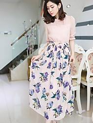 Xinfu® Fenyier Women's Korean Qualities Slim Thin Short Sleeve Print Chiffon Dress