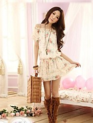 SIJIA  New Ladies Small Shoulder Floral Print Chiffon Dress
