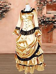 Golden Long Sleeves Mermaid Style Bustle Victorian Lolita Dress