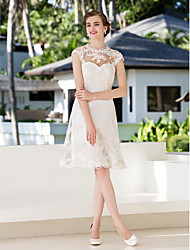 LAN TING BRIDE A-line Wedding Dress - Reception Little White Dress Knee-length Jewel Lace with Appliques