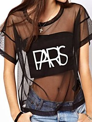 Women's Casual/Cute/Party/Work Round Short Sleeve T-Shirts (Mesh)
