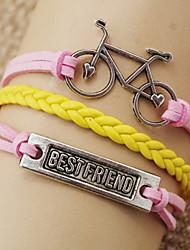 shixin® fashion fiets vorm beste vriend wrap armband (1 st)