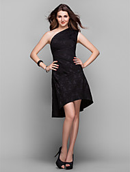Homecoming Cocktail Party/Holiday/Prom Dress - Black Plus Sizes A-line One Shoulder Asymmetrical Satin