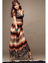 MuDiNa  Women's Bohemia Elegant Slim Fit Sleeveless Long Dress(Orange)