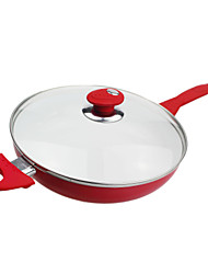 1.5QT Red Frying pan with Glass Lid,L26cm x W26cm x H6cm