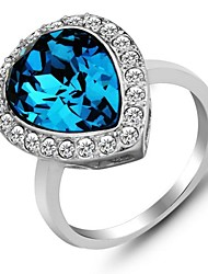 Best Party Ring Blue Crystal Silver Rings for Women  Fashion Jewelry Sapphire Ring
