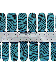 Art 28PCS Blue Zebra-rayure design Nail Stickers