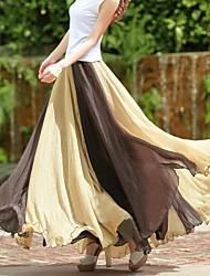 De las mujeres de Bohemia Moda Casual rayada grande del dobladillo de la gasa de la falda larga