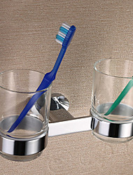 "Silver Brass Wall-mounted Double Cups Toothbrush Holder,8"" x 4"" x 4"""