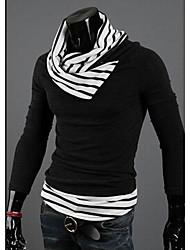 MeTe Men's Stand Color Contrast Color Knitwear(Screen Color)
