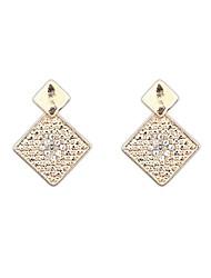 Women's European Ruili Squares Rhinestone Exquisite Alloy Stud Drop Earrings (Gold color) (1 Pair)