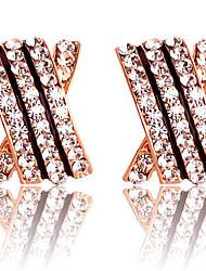 Clipes Huazhu Retro Grau Brincos de separação de ouvido cravejado de cristais de rocha