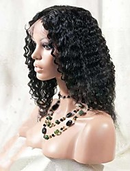 16Inch100% Indian Queen Hair Front Lace Wig Super Wave with Baby Hair in Front Off Black