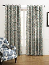 (Dois painéis) país de fantasia floral bordado cortina de poupança de energia jacquard