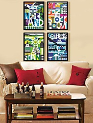 Abstract letters gorgeous color decoration Framed Canvas Print Set of  4