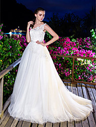 A-line Wedding Dress - Ivory Court Train One Shoulder Tulle/Lace