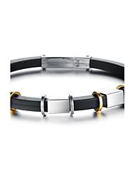 Charm Bracelet en silicone en acier inoxydable rétro pour hommes (1 PC)
