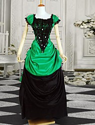 Black and Green Short Sleeves Elegant Satin Bustle Victorian Lolita Dress