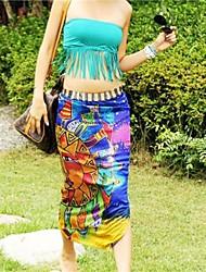Mujeres con estilo colorido de la impresión de la gasa de la toalla de playa encubrimiento