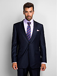Suits Tailored Fit Notch Single Breasted Two-buttons Wool / Polyester 2 Pieces Dark Blue Straight Flapped None (Flat Front)None (Flat