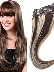 7PCS 22 pouces de cheveux humains pièces en 1 set (couleurs assorties)