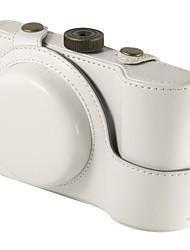 Protective White PU Leather Camera Case Bag for Samsung Galaxy EK-GC100 ,EK-GC110 Digital Camera
