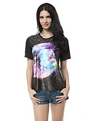 Casual élastique Galaxy planète T-shirt imprimé de base des femmes