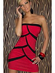 y&sexy vestido sin tirantes de la raya del bodycon d de las mujeres