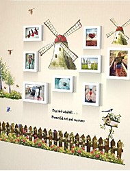 Photo Frame Set of 8 with The Windmill Wall Sticker