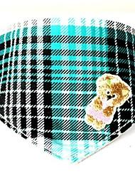 Eco-Friendly Plaid Teddy Bear Design Genuine Leather Bandana Collar for Pets Dgs