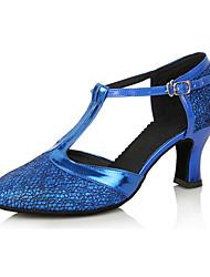 Joker Couro Calçados Femininos Mostrar Arch Strap Chunky Heel dança sapatos de salto 6cm (Azul Royal)