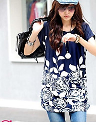 Women's Print Blue/Purple/Red/White T-shirt , Casual Round Neck Short Sleeve