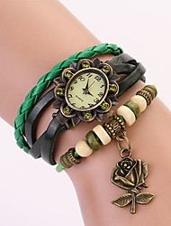 C&D Genuine Leather Vintage Watch, Rose Flower Pendant Bracelet Wristwatches XK-108