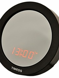 Timess ™ forma redonda LED Voice-activate Calendário SNOOZ Espelho Relógio Despertador