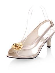 Women's Shoes Kitten Heel Peep Toe Sandals Dress Black/Silver/Gold