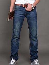Herren Jeans-Einfarbig Freizeit Denim