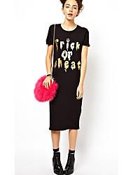 Vestido Estampado nuevo estilo de manga corta de Oro Femenina SHEILA
