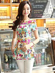 J&K Women's Bodycon Floral Print Short Sleeve Blouse