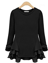 Women's Solid Black/Beige T-shirt , Round Neck Long Sleeve Ruffle