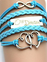 Fashion and Vintage Double Heart with Letter   One Direction PU Handmade Woven Bracelet