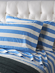 Thick Blue Stripe Sheet Set, 4 Pieces 100% Cotton