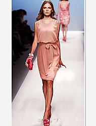 W.W.W  Women's Round Dresses , Chiffon Casual/Party/Work Sleeveless