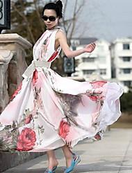 vestido maxi de la gasa estampado de flores soporte sin mangas de las mujeres