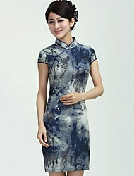 Women's Formal Vintage Sheath Dress,Print Stand Mini Short Sleeve Silk Summer