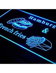 Hamburger French Fries Fast Food Neon Light Sign