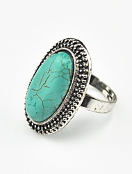 Vintage Look Female Green Tibet Alloy Oval Turquoise Adjustable Ring (Green)(1pcs)