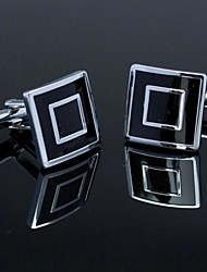 silver black man padrão verificado cufflink praça xinclubna®fashionable para os homens (1pair)