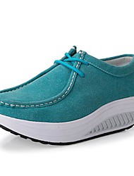 Suede Women's Platforms Creepers Fashion Sneakers with Lace-Up for Sport Shoes